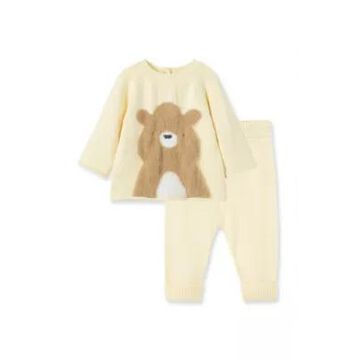 Little Me Newborn 2-Piece Bear Long Sleeve Sweater And Pant Set In Ivory