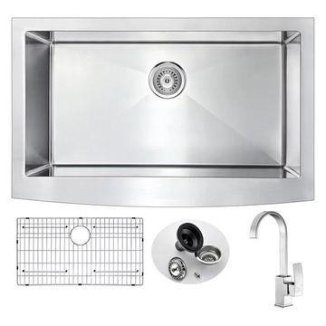 ANZZI Elysian Farmhouse 36 In. Kitchen Sink w/ Opus Faucet In Brushed
