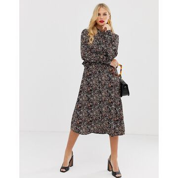 Y.A.S floral button through midi dress