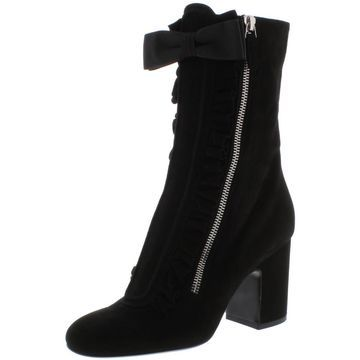 Laurence Dacade Womens Patty Suede Ruffled Mid-Calf Boots