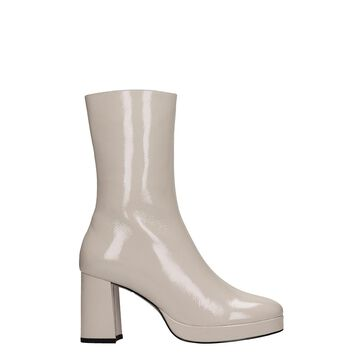 Bibi Lou High Heels Ankle Boots In Beige Patent Leather