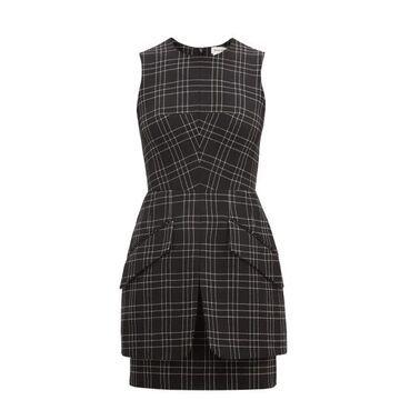 Alexander Mcqueen - Checked Virgin-wool Mini Dress - Womens - Black White