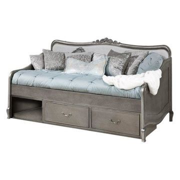 NE Kids Kensington Elizabeth Storage Daybed, Antique Silver