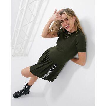 Love Moschino pleated logo skirt sweater dress in green