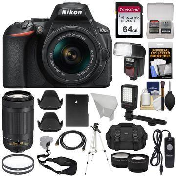 Nikon D5600 HD Wi-Fi DSLR Camera with 18-55mm VR & 70-300mm DX AF-P Lenses Kit