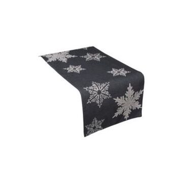 """Xia Home Fashions Glisten Snowflake Embroidered Christmas Table Runner, 16"""" x 36"""""""