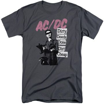 ACDC107-ATT-5 ACDC Dirty Deeds-S by S Adult Tall Short Sleeve Shirt, Charcoal - 2X