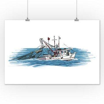 Shrimp Boat - Icon - Lantern Press Artwork (12x18 Art Print, Wall Decor Travel Poster)