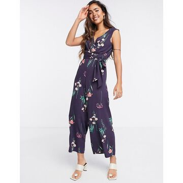 Liquorish sleeveless jumpsuit in purple floral-Multi