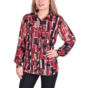 Ny Collection Women's Plus Size Button Front Blouse