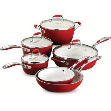 Tramontina Gourmet Ceramica_01 Deluxe 10-Piece Cookware Set, Red