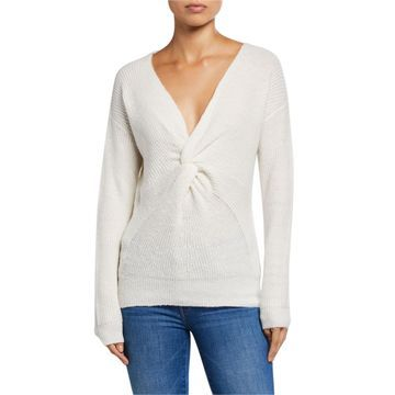 V-Neck Twist Front Long-Sleeve Sweater