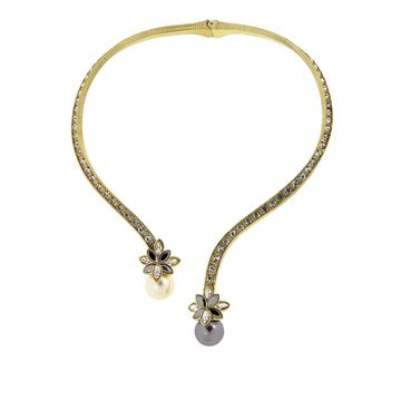 Heidi Daus Delicate Drama Hinged Crystal Collar Necklace