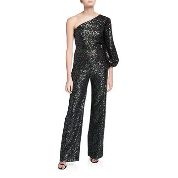 Lily One-Shoulder Sequined Jumpsuit