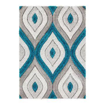 Well Woven San Francisco Malibu Modern Geometric Shag 3D Textured Area Rug, Blue, 5X7 Ft