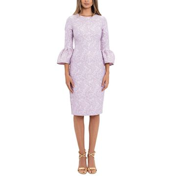 Betsy & Adam Jacquard Bell-Sleeve Sheath Dress