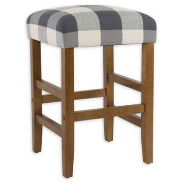 Homepop Wood Upholstered Bar Stool in Blue Plaid
