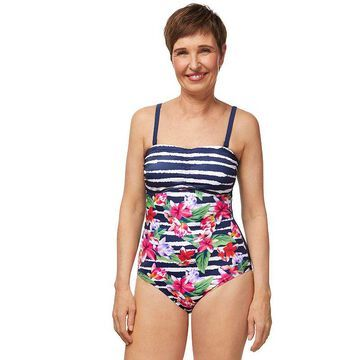 Women's Amoena Striped-Floral Convertible One-Piece Swimsuit, Size: 10C, Blue