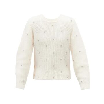 Self-portrait - Crystal-embellished Wrap-front Sweater - Womens - Ivory