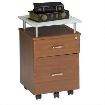 Mayline Glass-top Mobile Pedestal File-Anthracite