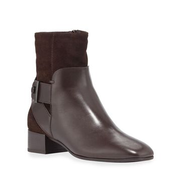 Lilly Leather Block-Heel Button Boots