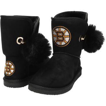Women's Cuce Black Boston Bruins The Fumble Faux Fur Boots