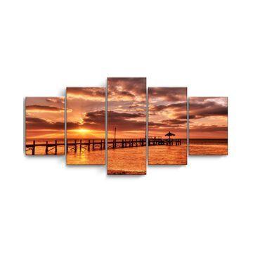 "Ready2HangArt Sunrise Pier 5 Piece Wrapped Canvas Coastal Wall Art Set, 30"" x 60"""
