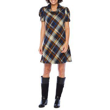 Jessica Howard Short Sleeve Plaid Shift Dress