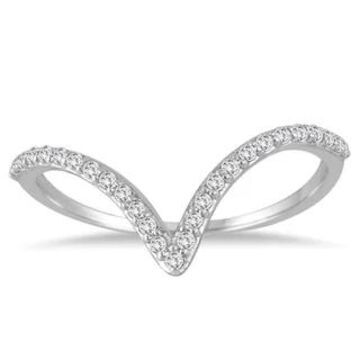 Marquee Jewels 14K White Gold 1/8CT TW Diamond V Ring (Size-6.5)