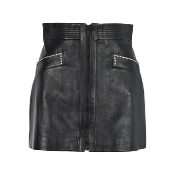 Miu Miu Crystals Embellishment Leather Mini Skirt