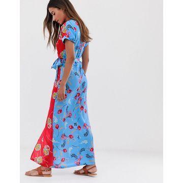 Liquorish wrap front midi dress in mixed floral print