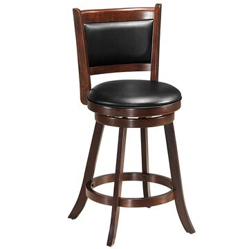 Goplus Brown Tall (36-in and up) Upholstered Swivel Bar Stool | HW65283