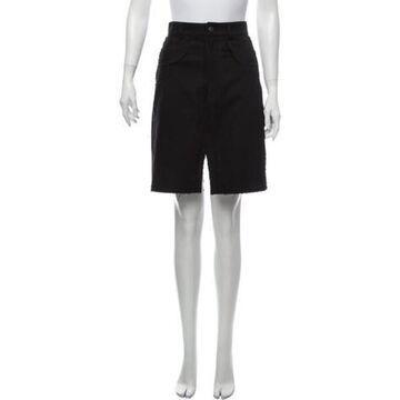 Raw-Edge Trim Knee-Length Skirt Black