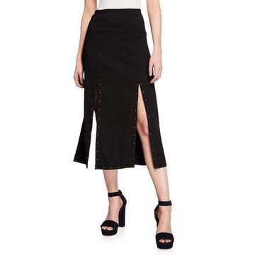 Double-Slit Studded Maxi Skirt