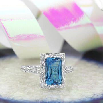 Auriya Vintage 2 5/8ct Emerald-cut Swiss-Blue Topaz and Halo Diamond Engagement Ring 1/3ctw 14k Gold