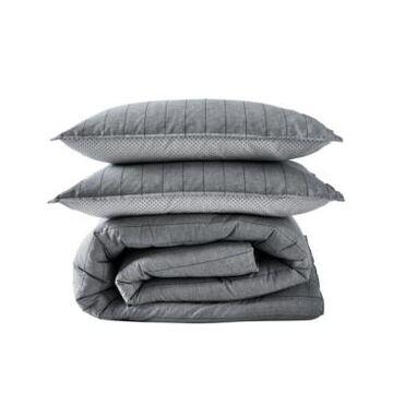 Ed Ellen Degeneres Chambray Pinstripe Full/Queen Comforter Set, 3 Piece Bedding