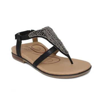 Aetrex Womens Sheila Leather Open Toe Casual Sport Sandals