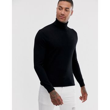 Armani Exchange wool mix roll neck sweater in black