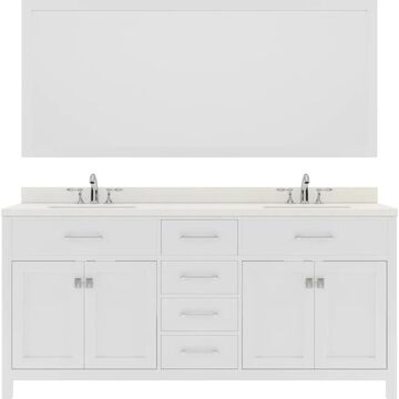 Virtu USA Caroline 72-in Double Bath Vanity in White with Dazzle White Top and Round Sink with Brushed Nickel Faucet and Mirror | MD-2072-DWQRO-WH-001