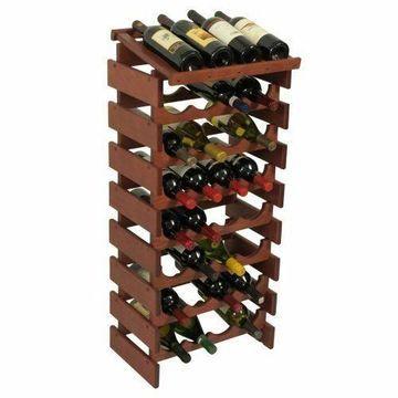 Wooden Mallet 32 Bottle Dakota Wine Rack with Display Top Mahogany NEW