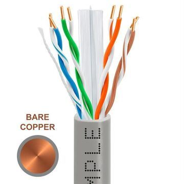 1313-N Cat6 Bulk Ethernet Cable 23AWG Bare Copper, 550MHz - 1000 ft. - Gray