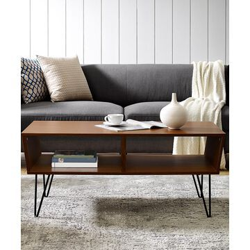 Walker Edison Coffee Tables Pecan - Pecan Brown Angled Coffee Table
