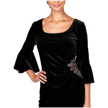 Alex Evenings Womens Pullover Top Velvet Embellished