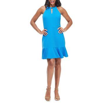 Halter-Neck Textured Ruffle-Hem Dress
