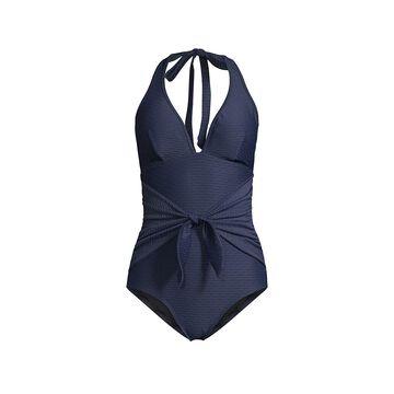 Shoshanna Tie-Front Halter One-Piece Swimsuit