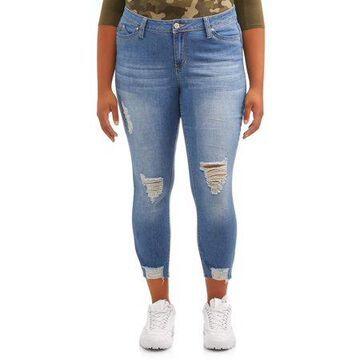 YMI Jeans Juniors' Plus Size Destructed Fray Hem Jean