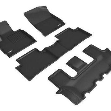3D Maxpider Kagu Floor Mats, Floor Mat Set - KAGU Floor Mat - Front, Rear and Third Row - PN L1KA06201509 in Black