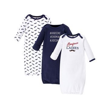 Hudson Baby Boys' Infant Gowns Bonjour - 'Bonjour' Gown - Set of Three