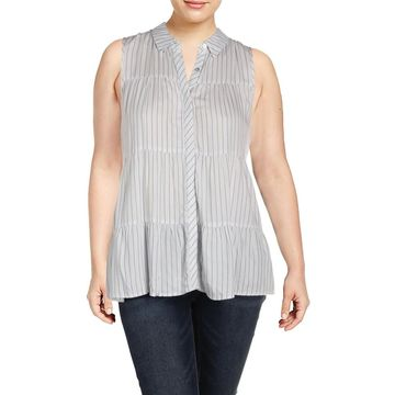 Cupio Womens Button-Down Top Striped Sleeveless