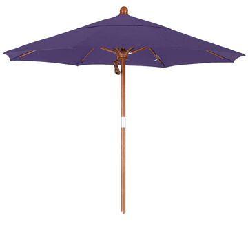 California Umbrella 7.5' Rd. Marenti Wood Frame, Fiberglass Rib Market Umbrella, Double Wind Vent, Pacifica Fabric
